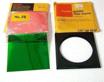 Vintage Kodak No. 58 Wratten Gelatin Filter and Filter Frame