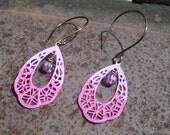 Orchid Gypsy Lace Teardrop Earrings   Vintaj Brass   Ombre Brass Filigree  Patina Brass Filigree Boho Earrings