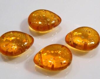 4 Beads....Sunburst Topaz Smooth Puffed Czech Glass Briolette Beads....16x12mm...BB