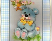 Baby Boy 3 D  Teddy Bear Greeting Card with Free matching Gift Tag