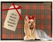Yorkshire Terrier 3 D Blank Greeting Card with Free Matching Gift Tag