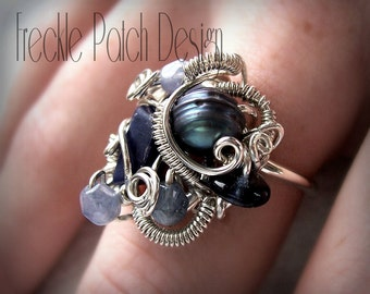 Arty Cocktail  Ring, APPROX PRICE, Made to Order, OOAK , Argentium Sterling Silver