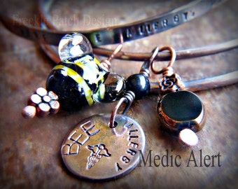 Medic Alert Personalized Copper Quote Bangles set of three , Bee Allergy,  with lampwork, Made to Order