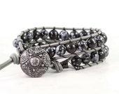 Black Wrap Bracelet Snowflake Obsidian Gray Leather Wrap Bracelet Bohemian Jewelry Beaded Bracelet Double Wrap Gemstone Bracelet Polka Dot