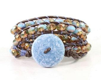 Blue Wrap Bracelet Boho Jewelry Brown Leather Wrap Bracelet Copper Summer Fashion Bohemian Jewelry Triple Wrap Leather Jewelry Brown Wrap