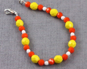 Yellow Orange White Halloween Jewelry Bracelet Candy Corn Sunshine Yellow Czech Glass Accessory
