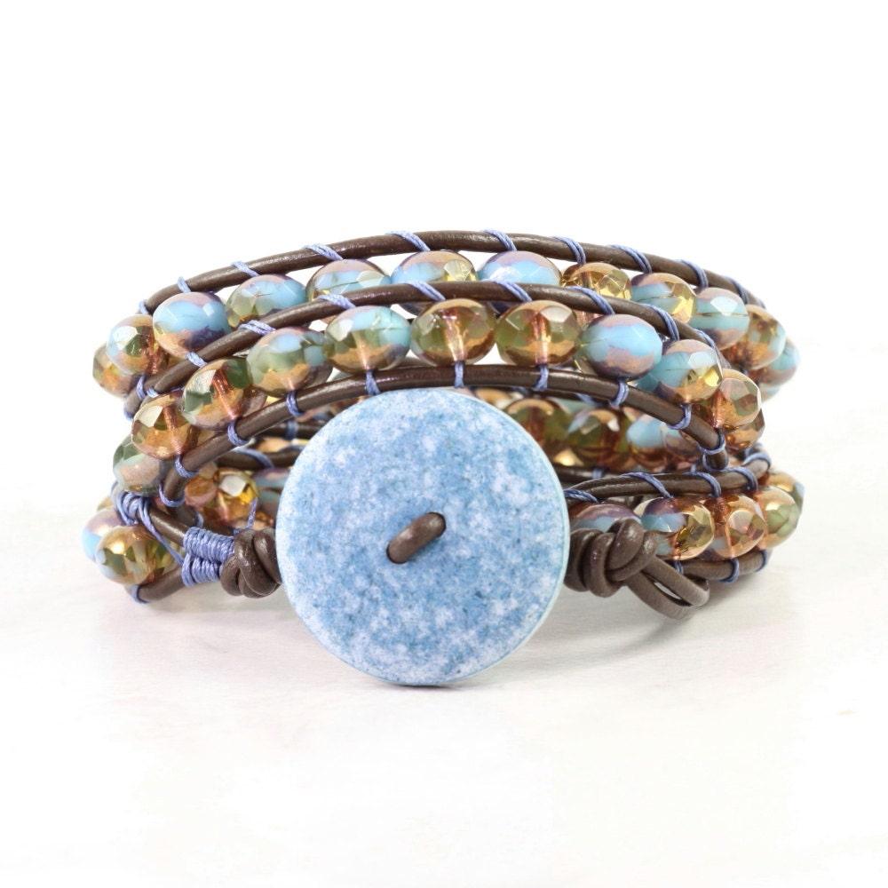 blue wrap bracelet boho jewelry brown leather wrap bracelet