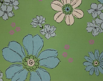 1960's Vintage Wallpaper Retro Blue and White Flowers on Green