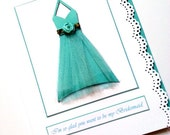 Thank you for being my bridesmaid wedding party card Aqua Halter
