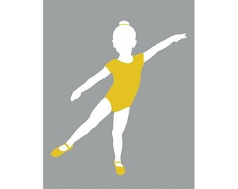 Dance wall decor, kids ballerina art 8 x 10 art print - available in different colors and sizes