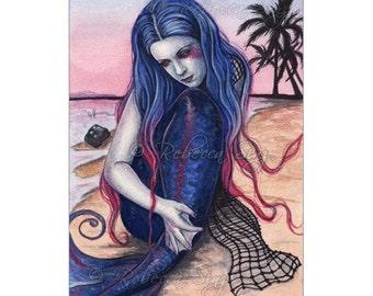 Sunset ACEO Print Fantasy Mermaid Art Artist Trading Cards ATC Tropical Beach Watercolor Fantasy art Ombre hair