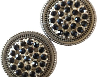 Magnet Button Rhinestone Cluster Black For Sweaters & Scarves