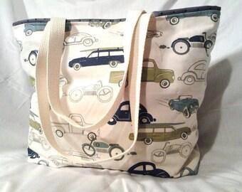 Vintage cars tote, bag, purse