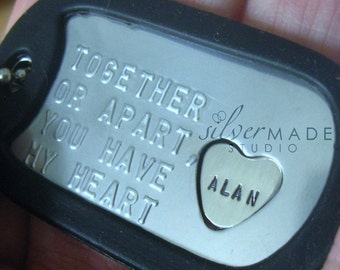 Military Stainless dogtag and sterling HEART RING