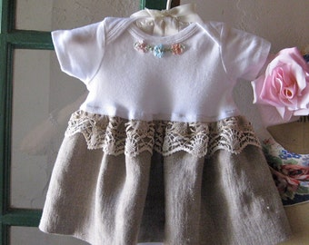 Baby Dress 3 to 6 mo Linen and Lace
