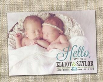 twin baby birth announcement, twins announcement,  girl or boy baby announcement, twins printable digital modern birth announcement