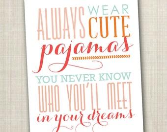 cute pajamas printable 11x14 children's art print
