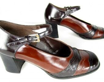 vintage 1970s black BROWN leather two tone MARY jane platform heels brogue scallop chunky heels womens 7 7 1/2 handmade MOD grunge kitten