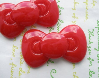 SALE Large Round  bow cabochons 2pcs RED 59mm x 34mm