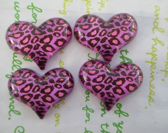 NEW item LEOPARD heart  cabochons 4pcs Purple