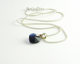 """True Blue Love Choker Length Dark Blue Swarovski Element Heart  Necklace with vintage silver bail on  Sterling foxtail chain 14"""""""