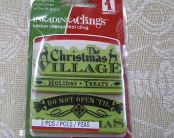Village Signs & Tags Cling foam-mounted Stamp 3 pieces