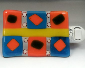 Fused Glass Night Light in Yellow, Orange, and Blue
