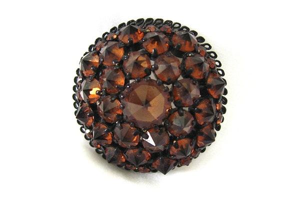 ON SALE was 28.99 Vintage Amber Crystal Pin/Brooch
