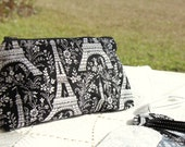 Black and White Paris Gift Set - Cosmetic Pouch and 2 Luggage Tags