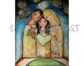 Family - Folk Art  Print from Painting (8 x 10  inches Print) by FLOR LARIOS