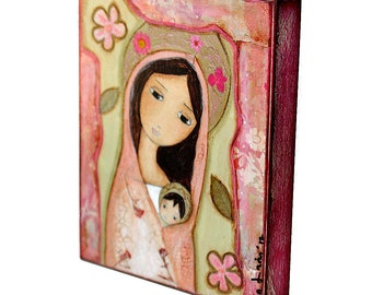 Madonna in Pink -  Giclee print mounted on Wood (6 x 8 inches) Folk Art  by FLOR LARIOS