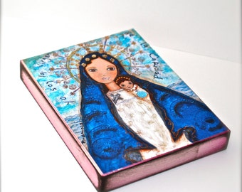 La Virgen de la Caridad del Cobre -  Giclee print mounted on Wood (4 x 5 inches) Folk Art  by FLOR LARIOS