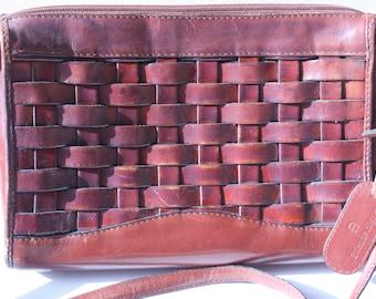 Etienne Aigner Purse Vintage Leather Cordovan Woven Hand Bag