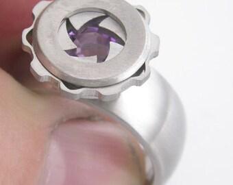 Mechanical Iris Titanium Ring