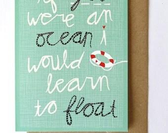 SALE - Greeting card - ocean love