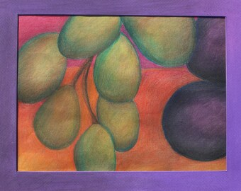 Grapes Pastel Drawing Framed