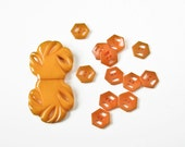 Vintage Bakelite  Buckle and Buttons -  Butterscotch and Orange