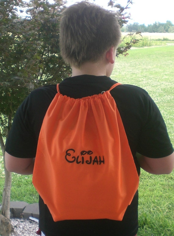 Drawstring Cinch Sack Personalized Gym Bag Back To School Sports Bag Custom Embroidery by Bloomingdeals