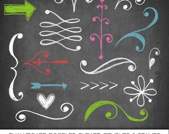 Chalkboard Doodles Clipart, Photoshop Brushes and Stamps. Instant Download. Personal, Limited Commercial Use.