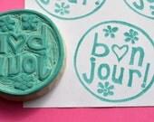 bonjour hand carved rubber stamp. handmade rubber stamp