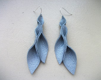 Petal Collection:  Silver Gray Leather Petal Earrings 3 inches