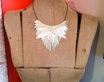 Pale Gold Faux Leather Fringe Necklace