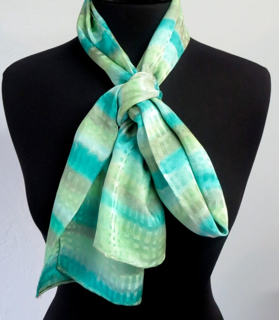 Peridot Green Hand Painted Silk Scarf