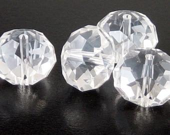 Glass Bead 4 Suncatcher Rondelle Clear 14mm x 10mm (1016gla14w2)