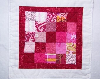 Coaster Mug Rug or Mini Quilt Rose Pink and White Version 2