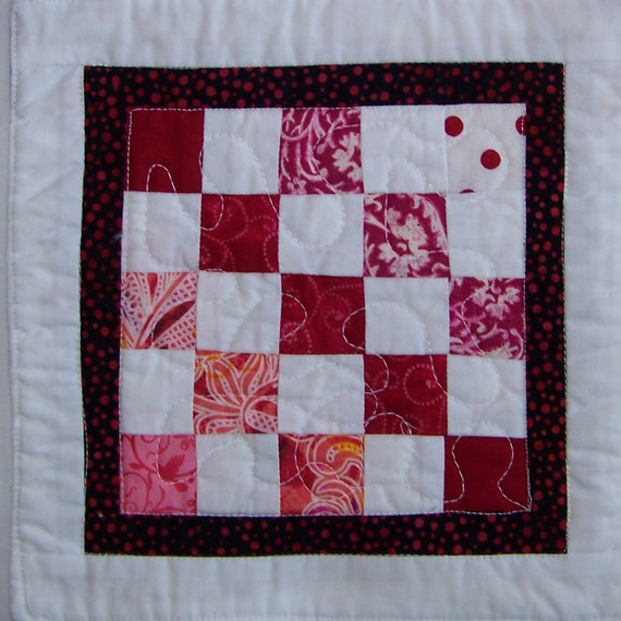 Coaster Mug Rug Or Mini Quilt In Pink And White By