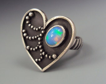 Heart Ring with Opal, Labradorite, Chalcedony, Ruby, Garnet, Prehnite, Moonstone
