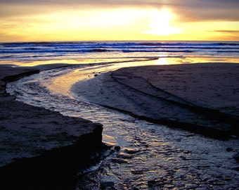 Sunset Beach Stream Sand Fine Art Photography Moody Dark Reflection Ocean Oregon Coast Greeting Card SEA CHANGE by Spinning Castle