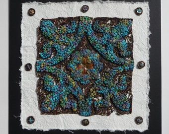 PDF Textile Art: Mediaeval Tile Panel Tutorial Project, contemporary hand embroidery with mixed media