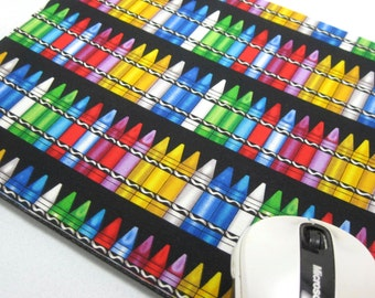 Buy 2 FREE SHIPPING Special!!   Mouse Pad, Computer Mouse Pad, Fabric Mousepad    Colorful Crayon Stripe